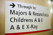 Hospital directional sign for Majors & Resusitation, Childrens A & E and A & E X-Ray. Royalty Free