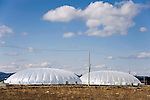 Photo shows the giant greenhouse domes at the Minamisoma Agri-Solar Park that have been built on the farmland that was affected by 2011's devastating tsunami and nuclear accident in Minamisoma, Fukushima, just 25 km from the Daiichi plant. More than 2,000 solar panels will power the  domes, inside which farmers affected by the 2011 tsunami and nuclear accident will be able to grow produce. Excess power generate at the park will be sold to a local utilities company. .  .Photographer: Robert Gilhooly