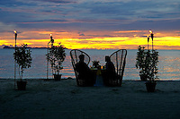 DINING AT THE BEACH AT SUNSET, PALAU, MICRONESIA