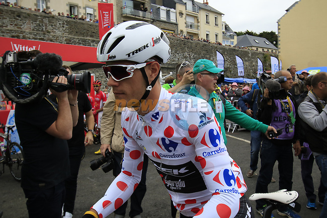 Polka Dot Jersey wearer Jasper Stuyven (BEL) Trek Segafredo at sign on before the start of Stage 3 of the 2016 Tour de France, running 223.5km from Granville to Angers, France . 4th July 2016.<br /> Picture: Eoin Clarke | Newsfile<br /> <br /> <br /> All photos usage must carry mandatory copyright credit (&copy; Newsfile | Eoin Clarke)