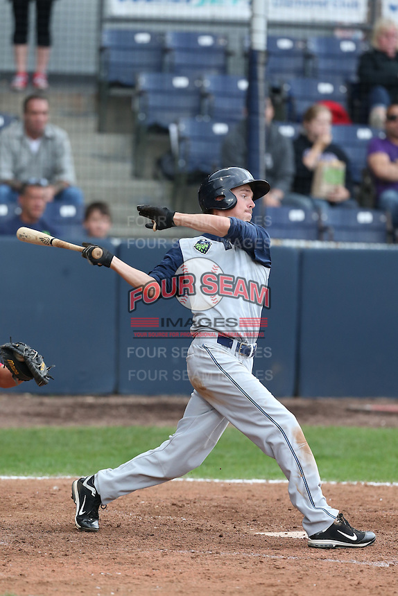 Taylor Ratliff  #4 of the Hillsboro Hops bats against the Vancouver Canadians at Nat Bailey Stadium on July 24, 2014 in Vancouver, British Columbia. Hillsboro defeated Vancouver, 7-3. (Larry Goren/Four Seam Images)