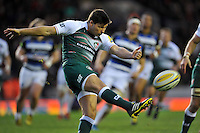 Ben Youngs of Leicester Tigers puts boot to ball. Aviva Premiership match, between Leicester Tigers and Bath Rugby on November 29, 2015 at Welford Road in Leicester, England. Photo by: Patrick Khachfe / Onside Images