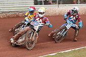 Heat 8: Stuart Robson and Kauko Nieminen lead Ales Dryml - Birmingham Brummies vs Lakeside Hammers - Elite League Speedway - 21/07/11 - MANDATORY CREDIT: TGSPHOTO - Self billing applies where appropriate - 0845 094 6026 - contact@tgsphoto.co.uk - NO UNPAID USE.