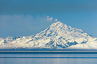 Plume of gas and vapor vent from the summit of Mt. Redoubt volcano as viewed across the Cook Inlet, southcentral, Alaska.