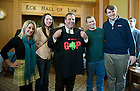 November 18, 2011; New Jersey Gov. Chris Christie poses for a photo with students as he holds up a T-shirt they gave him during a meet-and-greet in the Eck Commons. Christie delivered the keynote address during a daylong symposium, titled &ldquo;Educational Innovation and the Law&rdquo; in the Patrick F. McCartan Courtroom at the Notre Dame Law School. Photo by Barbara Johnston/University of Notre Dame.