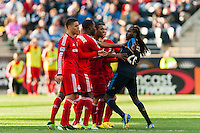 Keon Daniel (26) of the Philadelphia Union gets into a shoving match with several members of Toronto FC. Toronto FC and the Philadelphia Union played to a 1-1 tie during a Major League Soccer (MLS) match at PPL Park in Chester, PA, on April13, 2013.