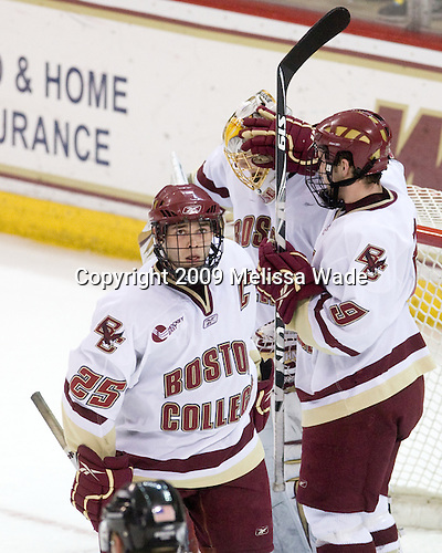 Matt Price (BC - 25), John Muse (BC - 1), Barry Almeida (BC - 9) - The Boston College Eagles defeated the Clarkson University Golden Knights 6-5 on Friday, November 27, 2009, at Conte Forum in Chestnut Hill, Massachusetts.