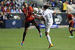 24 October 2014: Carli Lloyd (USA) (10) and Bianca Sierra (MEX) (3) challenge for the ball. The United States Women's National Team played the Mexico Women's National Team at PPL Park in Chester, Pennsylvania in a 2014 CONCACAF Women's Championship semifinal game, which serves as a qualifying tournament for the 2015 FIFA Women's World Cup in Canada. The United States won the game 3-0. With the victory the U.S. advanced to the championship game and qualified for next year's Women's World Cup.