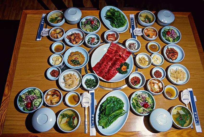 Kalbi (beef rib barbeque) table setting, Arisu Restaurant, Tower Hotel, Seoul, South Korea