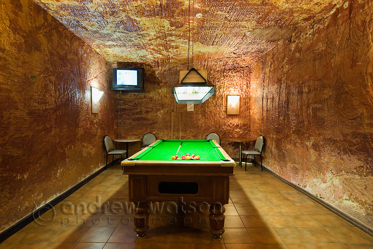 Underground billiards room in the Levels Undergroun d Bar - Desert Cave Hotel, Coober Pedy, South Australia, AUSTRALIA.