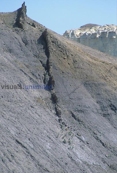 Volcanic dike, Montana, USA.