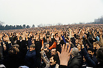 """Factory workers give a show of hands in support of  Union activist Derek """"Red Robbo"""" Robinson Union Leader at British Leyland Longbridge car plant Birmingham 1970s.1979"""