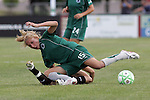26 July 2009: Amanda Cinalli (15) of Saint Louis Athletica land on top of Leslie Osborne (bottom) of FC Gold Pride after a battle for a loose ball.  Saint Louis Athletica tied the visiting FC Gold Pride 1-1 in a regular season Women's Professional Soccer game at Anheuser-Busch Soccer Park, in Fenton, MO.