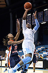 30 October 2013: North Carolina's Stephanie Mavunga (1) shoots over Carson-Newman's Whitney Kyle (20). The University of North Carolina Tar Heels played the Carson-Newman College Eagles in a women's college basketball exhibition game at Carmichael Arena in Chapel Hill, North Carolina. UNC won the preseason game 111-50.