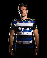 Charlie Ewels poses for a portrait in the 2015/16 home kit during a Bath Rugby photocall on September 8, 2015 at Farleigh House in Bath, England. Photo by: Patrick Khachfe / Onside Images