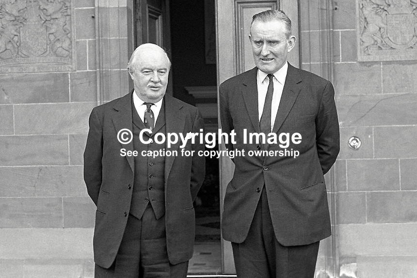 Major James Chichester-Clark, newly-elected leader of the Ulster Unionist Party, emerges from Government House, Hillsborough, N Ireland, during which he advised Lord Grey, Governor of N Ireland, of his intention to form a government. 1969050100170.<br />