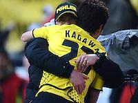 Fussball 1. Bundesliga :  Saison   2010/2011   32. Spieltag  21.04.2012 Borussia Dortmund - Borussia Moenchengladbach Jubel nach dem Tor zum 2:0, Trainer Juergen Klopp, Shinji Kagawa (v. li., Borussia Dortmund)