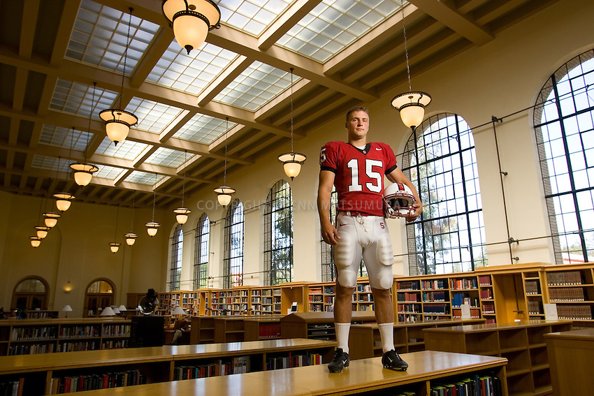 Stanford football kicker, Mike Sgroi in Lane Reading Room, Stanford Green Library