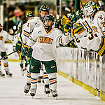 24 October 2015: University of Vermont Catamount Forward Jarrid Privitera, a Sophomore from Old Tappan, NJ, celebrates his first period goal against the University of North Dakota at Gutterson Fieldhouse in Burlington, Vermont. North Dakota defeated the Catamounts 5-2 in the second game of their weekend series. Mandatory Credit: Ed Wolfstein Photo *** RAW (NEF) Image File Available ***