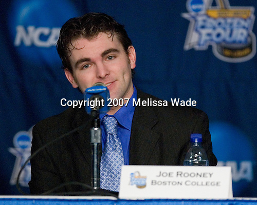 Joe Rooney (Boston College - Canton, MA) takes part in a press conference following practice on Wednesday, April 4, 2007, at the Scottrade Center in St. Louis, Missouri.