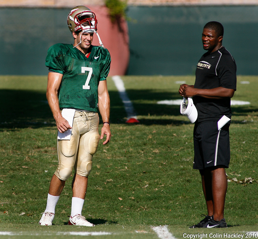 TALLAHASSEE, FL, 8/18/10-FSU-081810 CH-Florida State Christian Ponder talks with Quarterbacks Coach Dameyune Craig during practice Wednesday in Tallahassee. .COLIN HACKLEY PHOTO