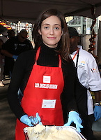 Los Angeles, CA - NOVEMBER 23: Emmy Rossum, At Los Angeles Mission Thanksgiving Meal For The Homeless At Los Angeles Mission, California on November 23, 2016. Credit: Faye Sadou/MediaPunch