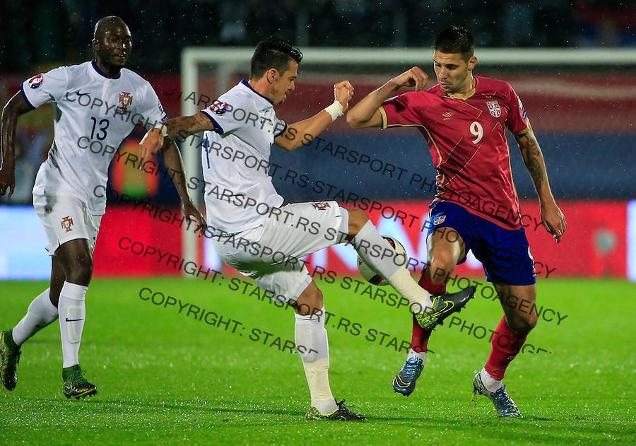 Fudbal, kvalifikacije za UEFA EURO 2016 qualifiers-Qualifying round - Group I<br /> Srbija v Portugal<br /> Aleksandar Mitrovic (R) and Jose Fonte<br /> Beograd, 11.10.2015.<br /> foto: Srdjan Stevanovic/Starsportphoto &copy;