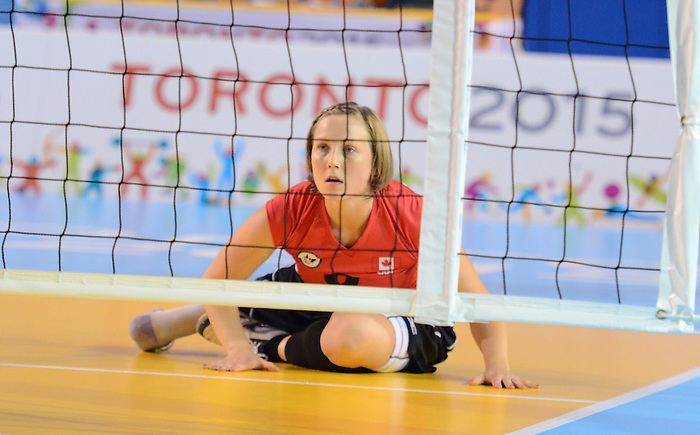 Toronto, ON - Aug 9 2015 - Women's Sitting Volleyball team competes vs. USA in the CIBC Pan Am / Parapan Am Aquatics Centre and Field House during the Toronto 2015 Parapan American Games (Photo: Kalie Sinclair/Canadian Paralympic Committee)