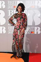 Lianne La Havas at the 2017 Brit Awards at the O2 Arena in London, UK. <br /> 22 February  2017<br /> Picture: Steve Vas/Featureflash/SilverHub 0208 004 5359 sales@silverhubmedia.com