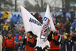 13 December 2009: College Cup and Akron flags during the pregame ceremony. The University of Virginia Cavaliers defeated the University of Akron Zips 3-2 on penalty kicks after playing to a 0-0 overtime tie at WakeMed Soccer Stadium in Cary, North Carolina in the NCAA Division I Men's College Cup Championship game.