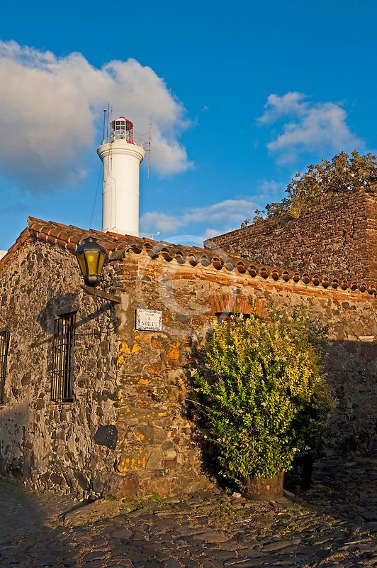 Uruguay, Colonia de Sacramento, Stone buildings and Colonia lighthouse