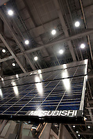 A large solar cell battery by Mitsubishi at the PV Expo 2009, Tokyo International Exhibition Center, Tokyo, 26 February 2009.