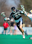 3 April 2010: Binghamton University Bearcats' Midfielder Steve Carlson, a Senior from Penn Yan, NY, in action against the University of Vermont Catamounts at Moulton Winder Field in Burlington, Vermont. The Catamounts defeated the visiting Bearcats 11-8 in Vermont's opening home game of the 2010 season. Mandatory Credit: Ed Wolfstein Photo