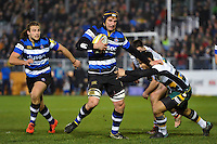 Paul Grant of Bath Rugby takes on the Northampton Saints defence. Aviva Premiership match, between Bath Rugby and Northampton Saints on February 10, 2017 at the Recreation Ground in Bath, England. Photo by: Patrick Khachfe / Onside Images