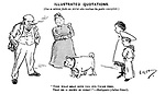 """Illustrated Quotations. (One so seldom finds an Artist who realises the poetic conception) """"Upon what meat doth this our Caesar feed, That he is grown so great?"""" -  Shakespeare (Julius Caesar). (a family look with surprise at their large dog)"""