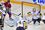 20 December 2008: Buffalo Sabres' goaltender Ryan Miller makes a save in the second period against the Montreal Canadiens at the Bell Centre in Montreal, Quebec, Canada. With both teams coming off wins, the Canadiens extended their winning streak by defeating the Sabres 4-3 in overtime. ***** Editorial Sales Only ***** Mandatory Photo Credit: Ed Wolfstein Photo