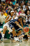 01 APRIL 2012:  Skylar Diggins (4) of the University of Notre Dame defends against Tiffany Hayes (3) of the University of Connecticut during the Division I Women's Final Four Semifinals at the Pepsi Center in Denver, CO.  Notre Dame defeated UCONN 83-75 to advance to the national championship game.  Jamie Schwaberow/NCAA Photos