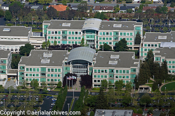 aerial photograph Apple Computer headquarters Cupertino, Santa Clara county, California