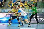 GER - Mannheim, Germany, September 23: During the DKB Handball Bundesliga match between Rhein-Neckar Loewen (yellow) and TVB 1898 Stuttgart (white) on September 23, 2015 at SAP Arena in Mannheim, Germany. Final score 31-20 (19-8) .  Rafael Baena Gonzalez #16 of Rhein-Neckar Loewen, Kasper Kisum #10 of TVB 1898 Stuttgart<br /> <br /> Foto &copy; PIX-Sportfotos *** Foto ist honorarpflichtig! *** Auf Anfrage in hoeherer Qualitaet/Aufloesung. Belegexemplar erbeten. Veroeffentlichung ausschliesslich fuer journalistisch-publizistische Zwecke. For editorial use only.