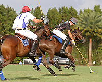 WELLINGTON, FL - APRIL 15:  Jared Zenni of Palm Beach Illustrated (dark jersey) controls the ball in the $100,000 World Cup Final, at the Grand Champions Polo Club, on April 15, 2017 in Wellington, Florida. (Photo by Liz Lamont/Eclipse Sportswire/Getty Images)