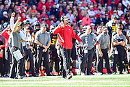 College Park, MD - OCT 15, 2016: Maryland Terrapins head coach DJ Durkin on the sideline during game between Maryland and Minnesota at Capital One Field at Maryland Stadium in College Park, MD. (Photo by Phil Peters/Media Images International)