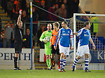 St Johnstone v Dundee United.....01.04.13      SPL.Stuart Armstrong is sent off by ref Iain Brines..Picture by Graeme Hart..Copyright Perthshire Picture Agency.Tel: 01738 623350  Mobile: 07990 594431