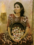 Peasant woman holding a bowl filled with eggs.<br />