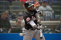 Miami Marlins Jose Reyes swings his bat during their game against New York Mets at Citi Field Stadium in New York. Photo by Eduardo Munoz Alvarez / VIEW.