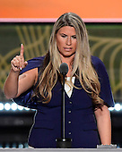 Michelle Van Etten, Women in Business for Trump, makes remarks at the 2016 Republican National Convention held at the Quicken Loans Arena in Cleveland, Ohio on Wednesday, July 20, 2016.<br /> Credit: Ron Sachs / CNP<br /> (RESTRICTION: NO New York or New Jersey Newspapers or newspapers within a 75 mile radius of New York City)