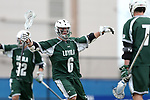 DURHAM, NC - MARCH 11: Loyola's Brian Sherlock (6) celebrates his first goal with Pat Spencer (7) and Zack Sirico (32). The Duke University Blue Devils hosted the Loyola University Maryland Greyhounds on March 11, 2017, at Koskinen Stadium in Durham, NC in a Division I College Men's Lacrosse match. Duke won the game 15-7.
