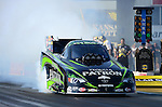 May 18, 2012; Topeka, KS, USA: NHRA funny car driver Alexis DeJoria during qualifying for the Summer Nationals at Heartland Park Topeka. Mandatory Credit: Mark J. Rebilas-