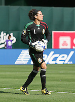 Guillermo Ochoa carries the ball. Mexico defeated Nicaragua 2-0 during the First Round of the 2009 CONCACAF Gold Cup at the Oakland, Coliseum in Oakland, California on July 5, 2009.