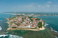 Aerial view of the Galle Fort and the city of Galle beyond the ramparts..2011