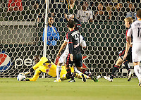 CARSON, CA – May 7, 2011: New York Red Bull goalie Bouna Coundoul (18) saves a goal shot during the match between LA Galaxy and New York Red Bull at the Home Depot Center, May 7, 2011 in Carson, California. Final score LA Galaxy 1, New York Red Bull 1.